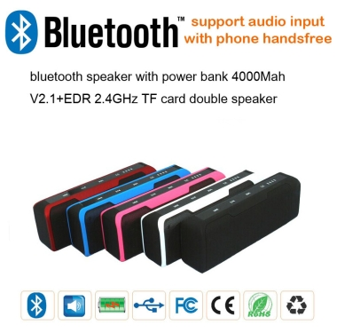 Bluetooth Speaker, Phone answering with Power Bank (4000mAh)