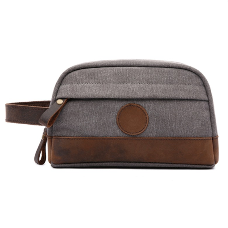 Vintage canvas horse leather toiletry bag