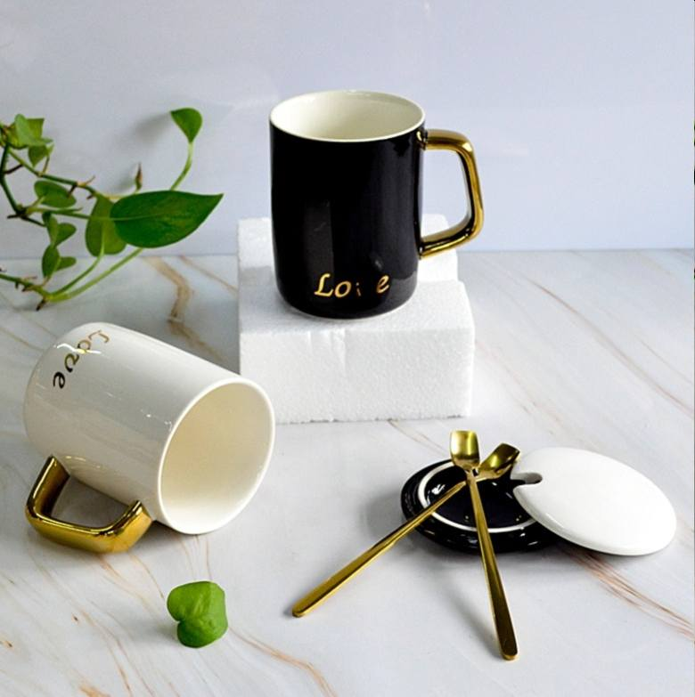 Ceramic Cup with Gold plated handle (380ml)(13 oz)
