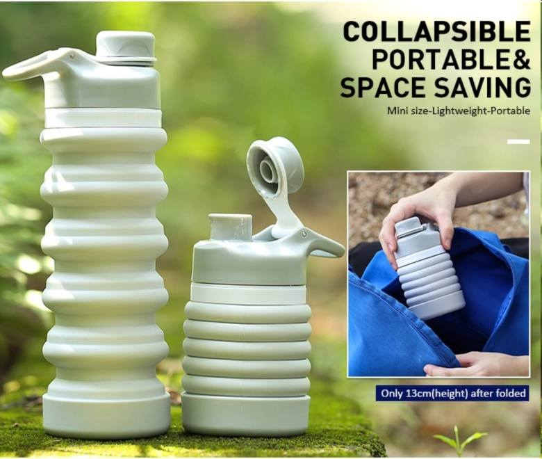 Leak proof Silicon Collapsible Water Bottle  [550ml]