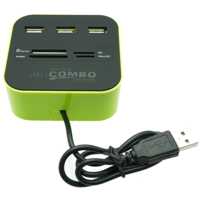 Combo Card Reader with 3 Ports USB Hub