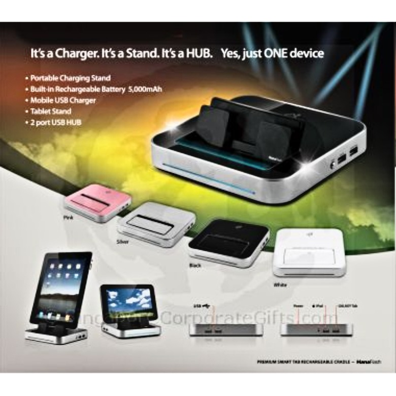 Portable Tablet/Smart Phone Stand with USB hub, Charger