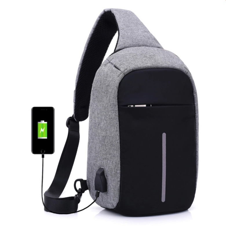 Anti-theft Crossbody Canvas Sling Bag with USB