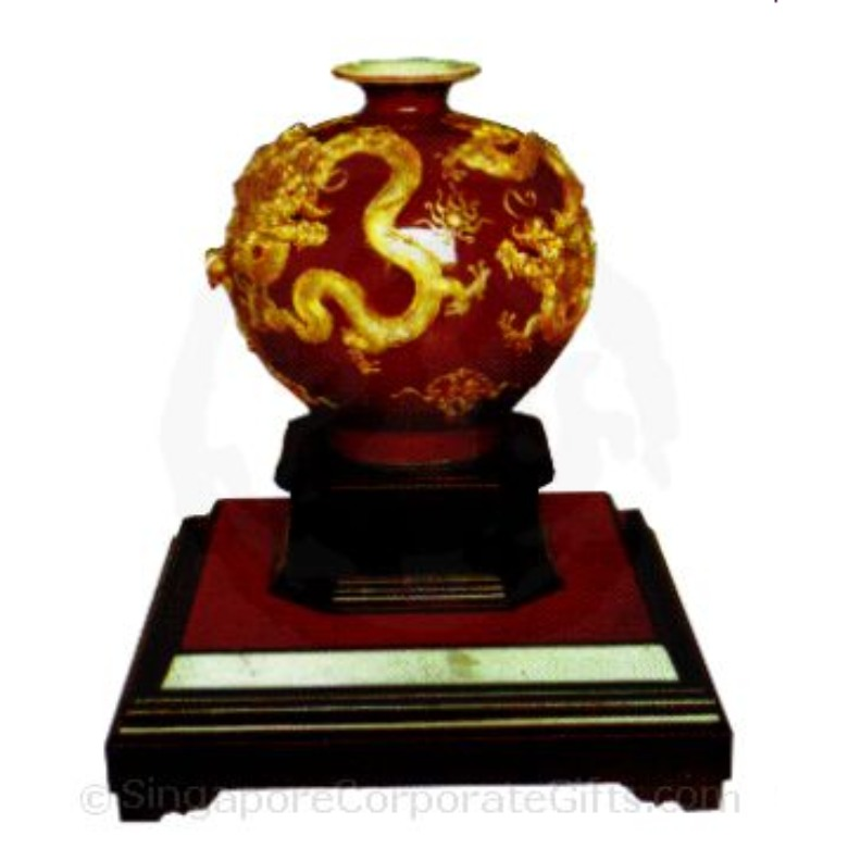 Apple-shaped Vase with Five Dragons 10 Inches