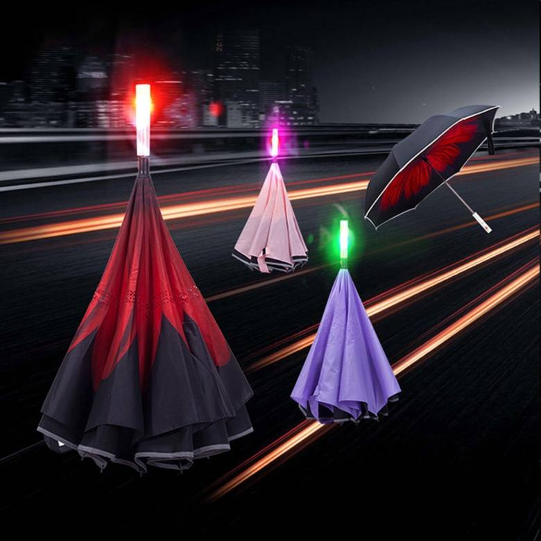 Reverse Umbrella with reflective stripe and LED [23in]