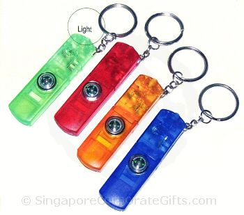 Whistle Keychain w/Compass & Light