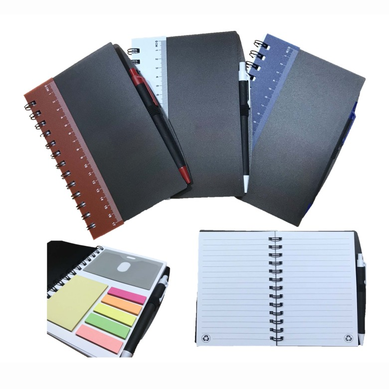 Ruler Notebook with Sticky Notes & Pen [Black Cover]