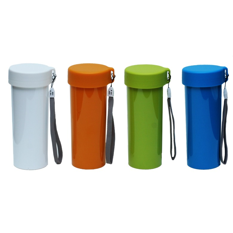 Single wall plastic interior with screw lid and strap (10 oz)