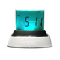 Push Panel Color-Changing LCD Clock 213 White