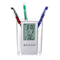 Pen Holder with Digital Clock, Calendar, Thermometer (Clear)