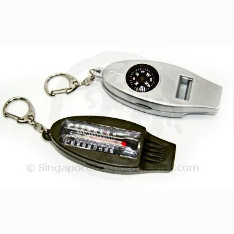 Whistle keychain with compass & thermometer