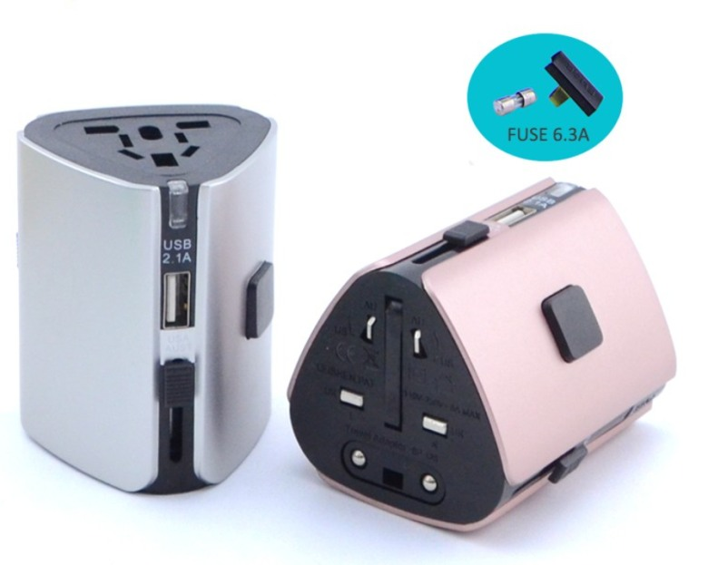 Quick Charge Universal Electric Plug with USB Hub (6.3A Fuse)