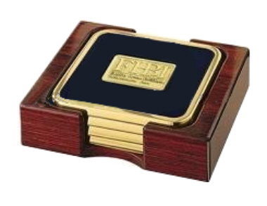 Exclusive Brass Coaster with Leather Lining 4