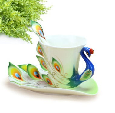 Peacock Porcelain Cup  with Saucer and Spoon