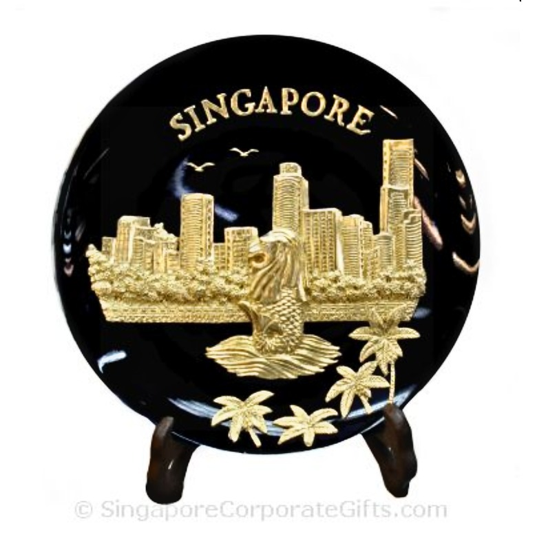 Gold Merlion Plaque (Black)