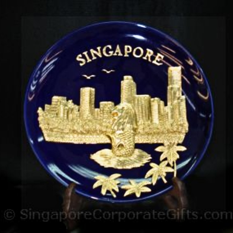 Gold Merlion Plaque (Blue)